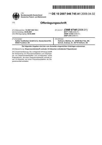 Dispersionsfarbstoff und/oder UV-Absorber enthaltende Präparationen
