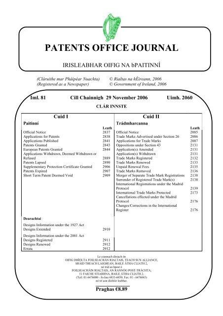 Patents Office Journal Irish Patents Office