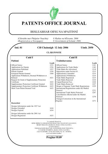 PATENTS OFFICE JOURNAL - Irish Patents Office