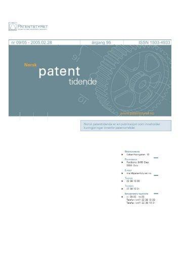 Norsk Patenttidende nr 09/05 - Patentstyret