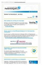 Nyheter fra Patentstyret - mai 2013 Nytt verktøy for varsling om ...