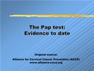 The Pap test: Evidence to date - IARC Screening Group