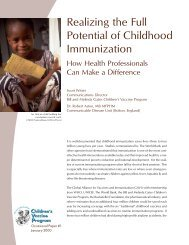 Realizing the Full Potential of Childhood Immunization: How ... - Path