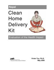 Nepal Clean Home Delivery Kit: Evaluation of the Health Impact - Path