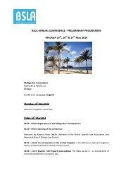 Preliminary Programme - BSLA Annual Conference Malaga