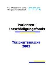 Patienten-Entschädigungsfonds - Tätigkeitsbericht ... - NÖ Patienten