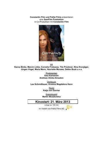 Kinostart: 21. März 2013 - Pathé Films AG Zürich