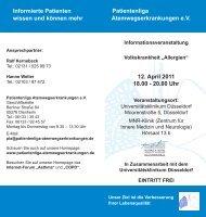 12. April 2011 18.00 - 20.00 Uhr Informierte Patienten wissen und ...