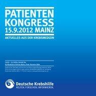 patienten kongress aktuelles aus der krebsmedizin 15.9.2012 mainz