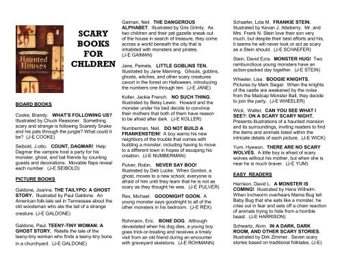 SCARY BOOKS FOR CHLDREN - Brooklyn Public Library
