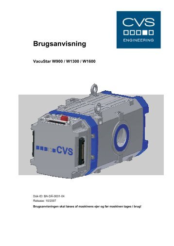 Brugsanvisning - CVS Engineering - Compressors