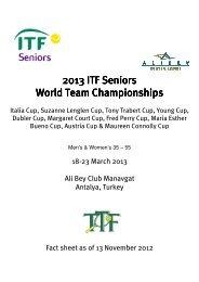 20 World Team Champi 2013 ITF Seniors ITF Seniors ITF Seniors ...