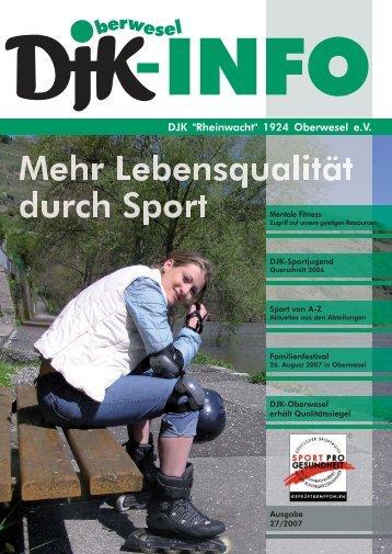 """Die DJK-Info 27/2007 """"Mehr Lebensqualität durch - DJK """"Rheinwacht"""""""