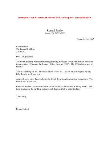 congressional referral letter the patriot network