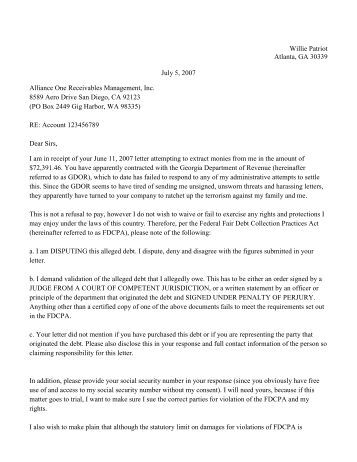willie patriots letter to collection agency patriot network