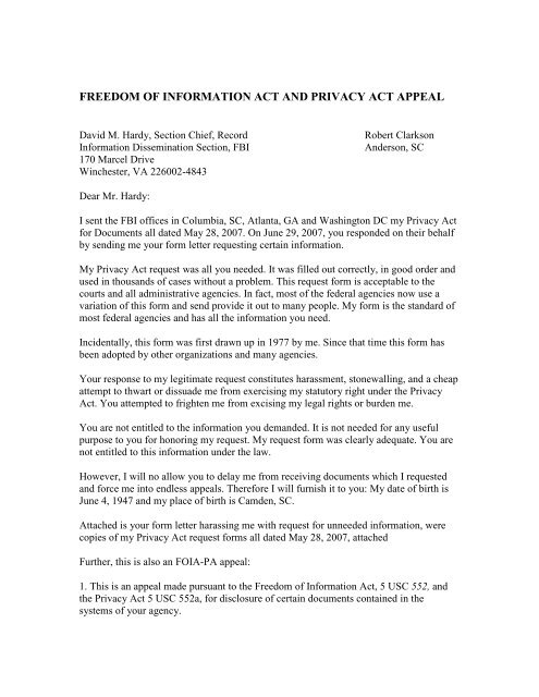Response to Trash Letter and Appeal (27 Jul 07) - Patriot ... on request for information letter, freedom of information form free, freedom of information request form,