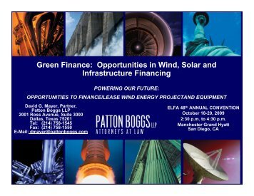 Green Finance: Opportunities in Wind, Solar and ... - Patton Boggs