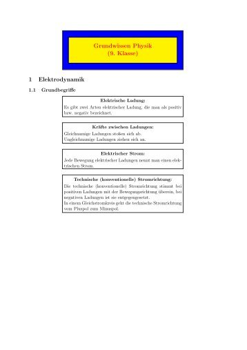Physik 9.Klasse - Paul Klee Gymnasium
