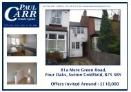 Sales details 81a Mere Green Rd - Paul Carr Estate Agents