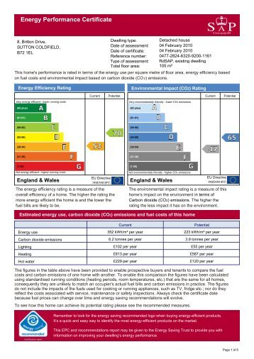 Energy Performance Certificate RDSAP 9.82 Engl - Paul Carr Estate ...