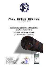 Strömungsmessung mit Staurohren ... - Paul Gothe GmbH