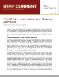 The JOBS Act Loosens Private Fund Marketing ... - Paul Hastings
