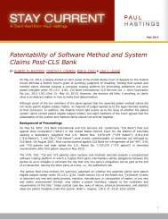 Patentability of Software Method and System Claims ... - Paul Hastings
