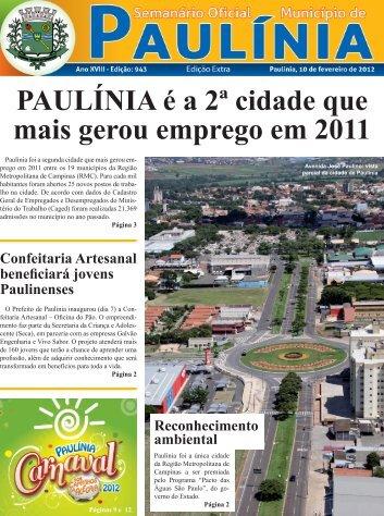 PAULÍNIA é a 2ª cidade que mais gerou emprego em 2011