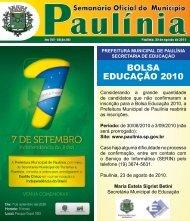BOLSA EDUCAÇÃO 2010 - Prefeitura Municipal de Paulínia