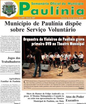 Município de Paulínia dispõe sobre Serviço Voluntário - Prefeitura ...