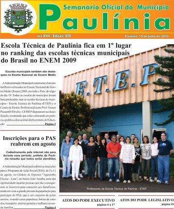 Escola Técnica de Paulínia fica em 1º lugar - Prefeitura Municipal de ...