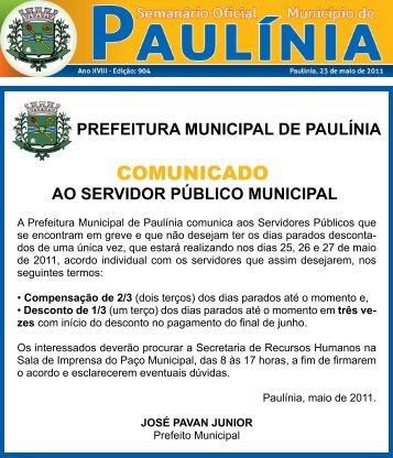 COMUNICADO - Prefeitura Municipal de Paulínia