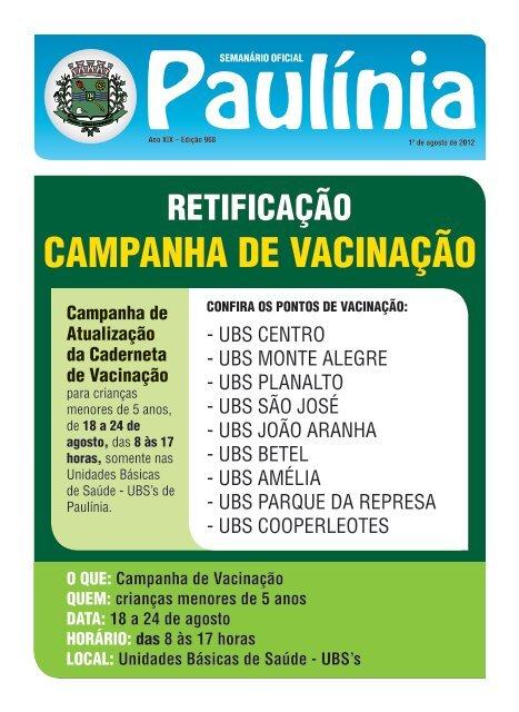 CAMPANHA DE VACINAÇÃO - Prefeitura Municipal de Paulínia