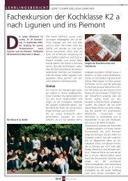 Fachexkursion der Kochklasse K2 a nach Ligurien und ins Piemont