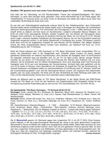 Spielberichte vom 02./03./11. 2002 Handball: TSV gewinnt noch ...