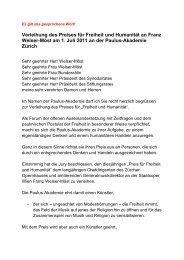 Verleihung des Preises für Freiheit und ... - Paulus-Akademie