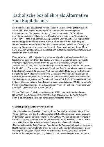 Katholische Soziallehre als Alternative zum ... - Paulus-Akademie