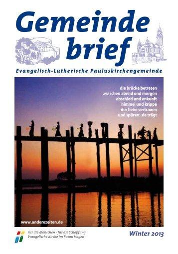 Winter 2013 - Evangelisch-Lutherische Pauluskirchengemeinde ...