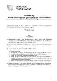 Verordnung über das freie Umherlaufen von großen ... - Paunzhausen