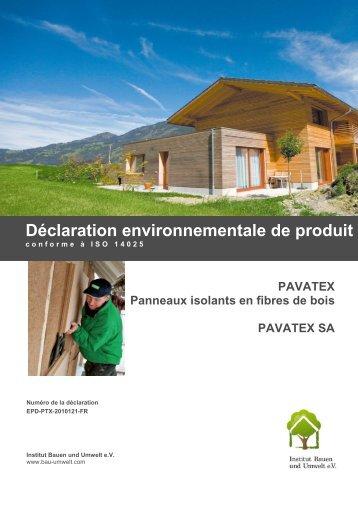 Déclaration environnementale de produit - Pavatex