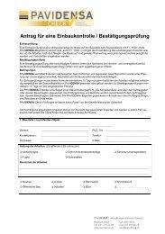 Antrag für eine Einbaukontrolle / Bestätigungsprüfung - Pavidensa