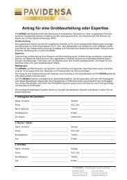 Antrag für eine Grobbeurteilung oder Expertise - Pavidensa