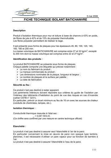 FICHE TECHNIQUE ISOLANT BATICHANVRE - Pavillon-Bleu