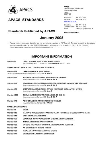 APACS STANDARDS January 2008 - Payments Council
