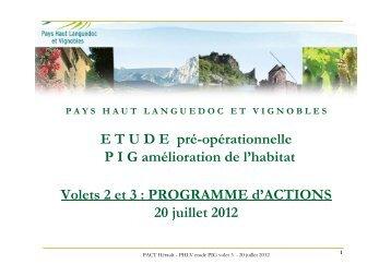 PROGRAMME d'ACTIONS 20 juillet 2012