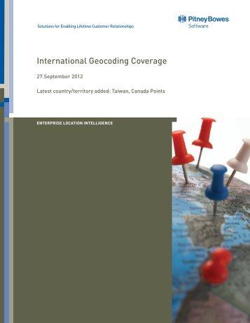 International Geocoding Coverage - Pitney Bowes