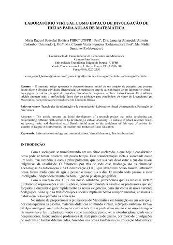 LABORATÓRIO VIRTUAL COMO ESPAÇO DE ... - UTFPR