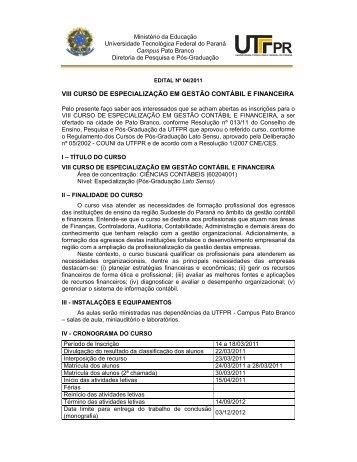 viii curso de especialização em gestão contábil e financeira - UTFPR