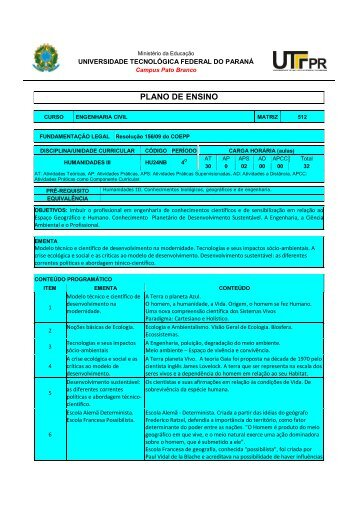 Download Plano de Ensino - UTFPR