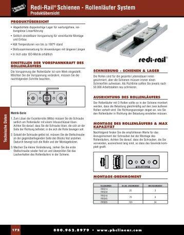 Redi-Rail® Schienen - Rollenläufer System